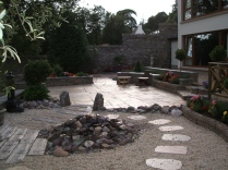 Patio with rock pool water feature